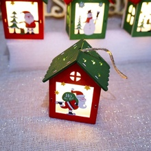 2019 Merry Christmas Party Decorations Small Wooden House With Lights Tree Hanging Colorful