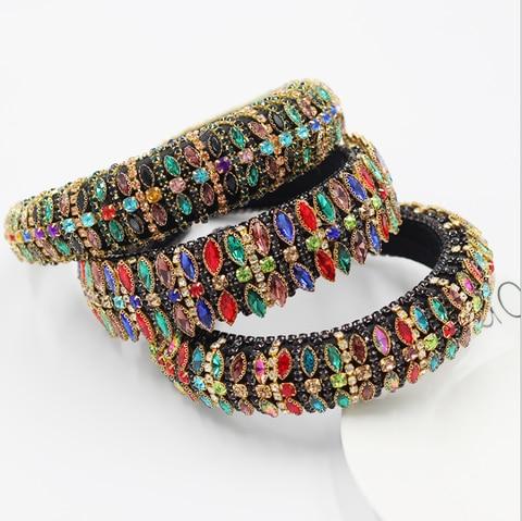 Cheio de Diamante Mulheres Hairbands Barroco Personalidade Luxo Esponja Headbands Feminino Cor Strass Cheio Diamante