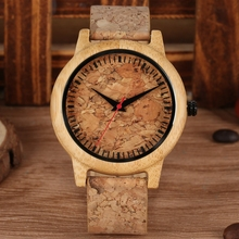 New Fashion Cork Slag Dial Wood Watches Men Women Quartz