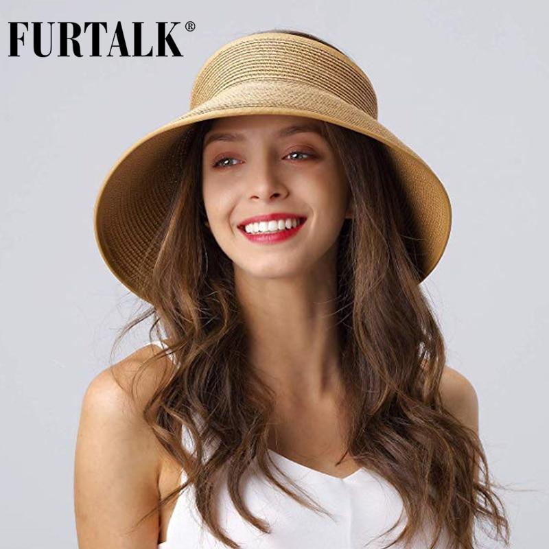 FURTALK Sun Visor Hats For Women Summer Straw Beach Hat Wide Brim Roll Up Ponytail UV UPF 50 Foldable Travel Hat Female Sun  Cap