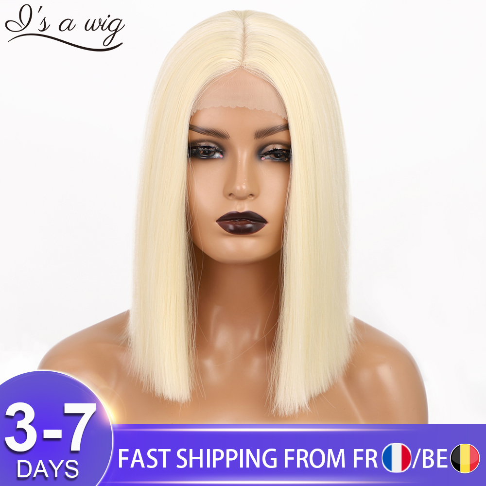 I's a wig Synthetic Blonde Wigs 613 Color Short Straight Bob Wigs for Women Middle Part Nature Black Daily Use Hairs