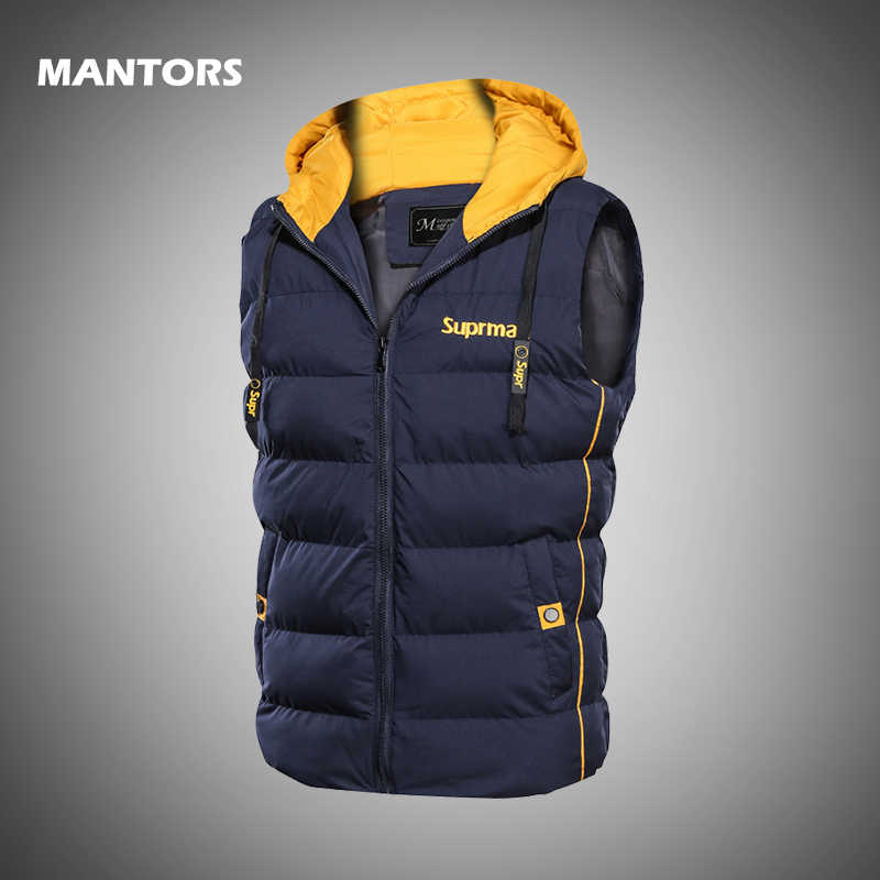 Winter Men's Vest Thick Down Jacket Autumn Hooded Waistcoat Fashion Print Sleeveless Coats Brand Mens Warm Parkas Slim Vest Tops