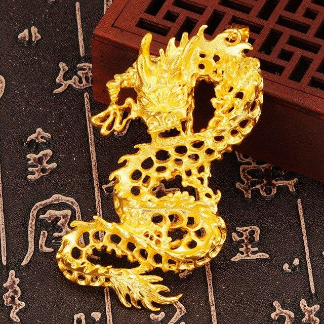 Фото подвеска из твердого золота 24 к с 3d драконом для женщин и