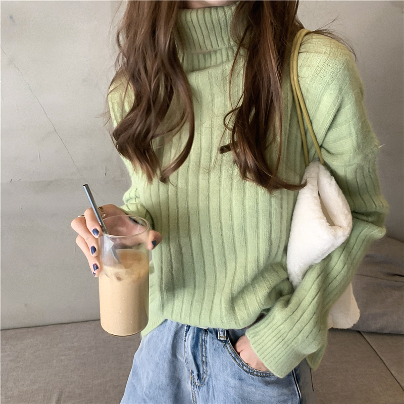 Chic Simple Solid Color Turtleneck Winter Women Casual Warm Knitting Jumpers Sweaters Ladies Basis Loose Tops Green Pullovers