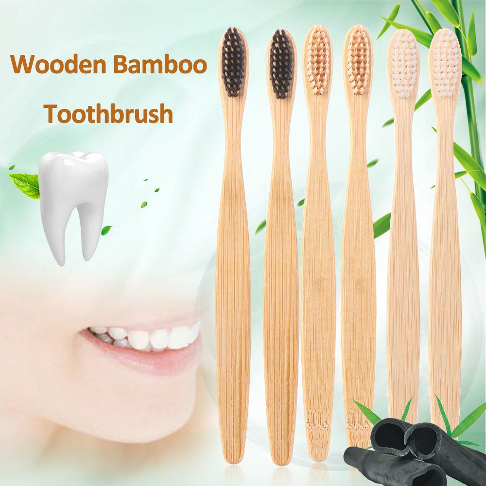 1PC Wooden Toothbrush Solid Bamboo Handle Soft Fibre Eco-Friendly Teeth Brushes Dental Cleaning Adult Oral Care Healthy Products