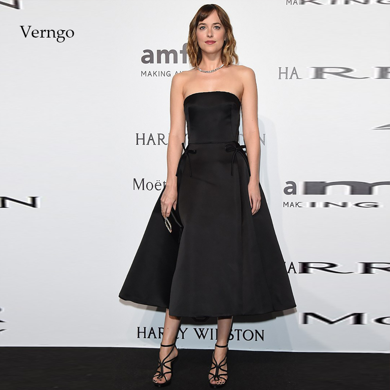 Verngo Simple Evening Dress Short Formal Dress Party Gown Black Prom Dresses Gowns Evening Dress 2019