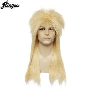 Ebingoo czepek do włosów + 70s 80s Hallween metalowy Rocker Disco peruka mężczyźni blond długie proste syntetyczne Cosplay Mullet peruka dla mężczyzn kobieta