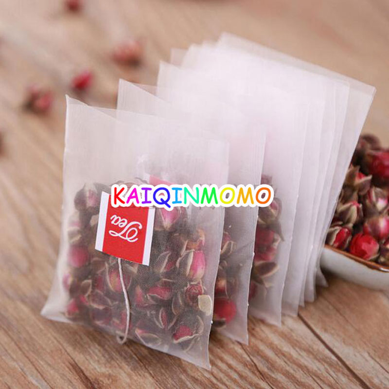 100pcs/lot New Nylon Empty Tea Infuser Bag Herb Spice Filter Strainer Bags With String Household Teabags 5*6cm 5.6*7cm 6.5*8cm