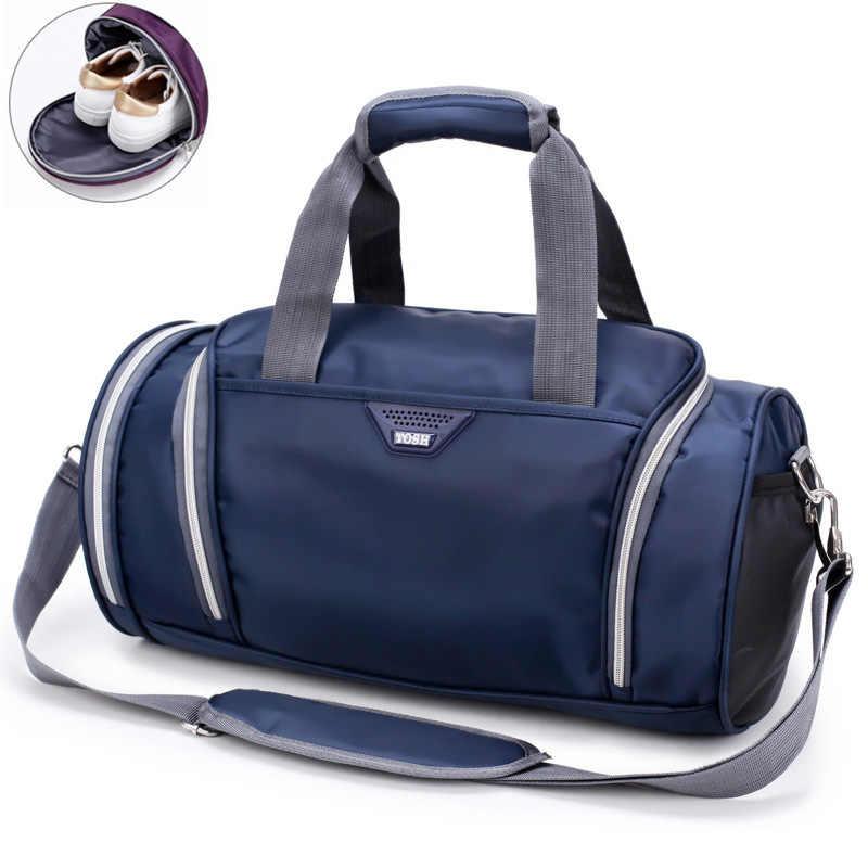 Spor çantası spor çantaları erkek kadın seyahat Yoga Fitness dayanıklı çok fonksiyonlu çanta açık ayakkabı Sac De Sporttas naylon Gymtas