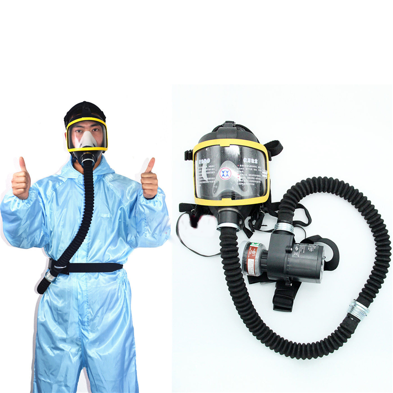 Electric Air Fed Full Face Gas Mask Constant Flow Supplied Respirator System Kit Protective Mask For Construction 2020 New