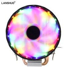 RGB LED مروحة تبريد لوحدة المعالجة الرئيسية 2 Heatpipe 12 فولت برودة 120 مللي متر مروحة التبريد بالوعة الحرارة المبرد ل Intel LAG 1150 1155 1156 775 1366 ل AMD