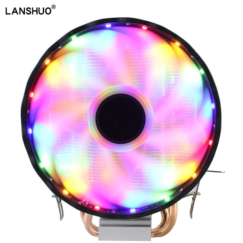 RGB LED CPU Cooler Fan 2 Heatpipe 12V Cooler 120mm Cooling Fan Heat Sink Radiator For Intel LAG 1150 1155 1156 775 1366 For AMD