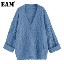 [EAM] Big Size Horn Button Knitting Open Stitch Coat Loose Fit V-neck Long Sleeve Women New Fashion Autumn Winter 2019 JZ096(China)