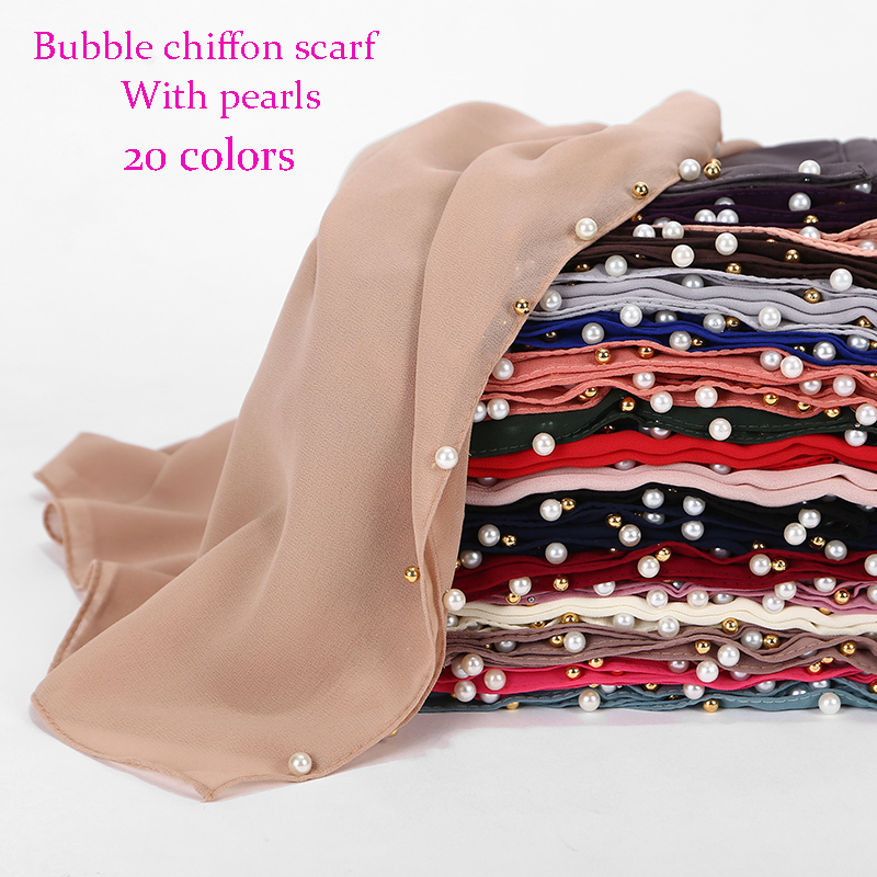 1pc Golded Beaded Pearl Scarf Big Solider Color Quality Bubble Chiffon Scarf Plain Shawls Hijab Muslim Scarf 20 Color 180*75cm