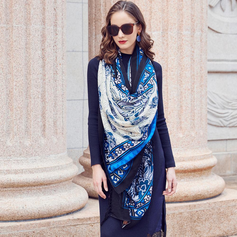 Mulheres Cachecóis e Estolas de lã Elegante Muçulmano Hijab Bandana Carf Xale Quente Cachecol Marca De Luxo Praia Cobertor Rosto Escudo Foulard