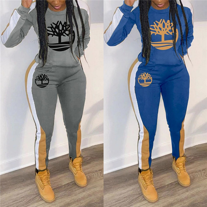 2020 European and American spring new track suit women's fashion women's multi-color printing casual sports two-piece suit (2)