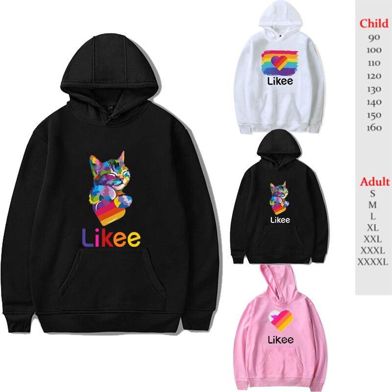Russia Style Likee App LIKEE Hoodies Women Hoodie Rainbow Sweatshirt Trendy Streetwear Men Boys Girls Kids Children Cat Coat
