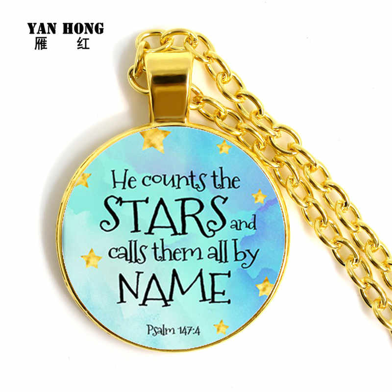 YANHONG   Handcrafted Necklace 25mm glass pendant church best gift to friends biblical text bless peace