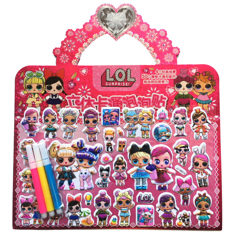 Lol Surprise Stickers Dolls 3D Cartoon Original Lols Dolls Anime Stereoscopic Stickers Action Toys Sets For Girl's Gifts