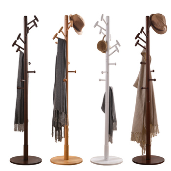 KingYee  Assembled Wood Hangers Hat Coat Display Floor Standing Rack 10 Hooks Clothes Hanger Bedroom Clothing Organizer