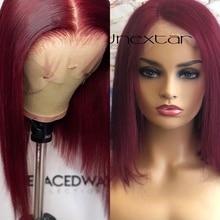 Lace Wigs Human-Hair Short Colored Preplucked Straight Women 180%Brazilian Bob for 99J