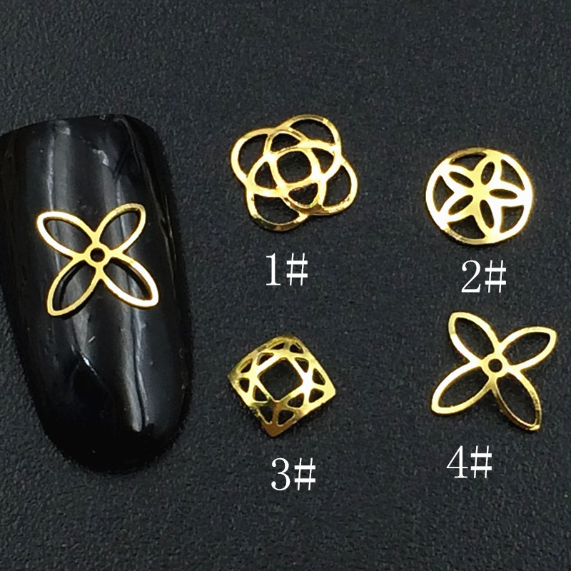 Japanese-style Metal Hollow Out Relief Flower Framework Nail Ornament Alloy Square Five Flower Phototherapy Crystal Nail Sticker