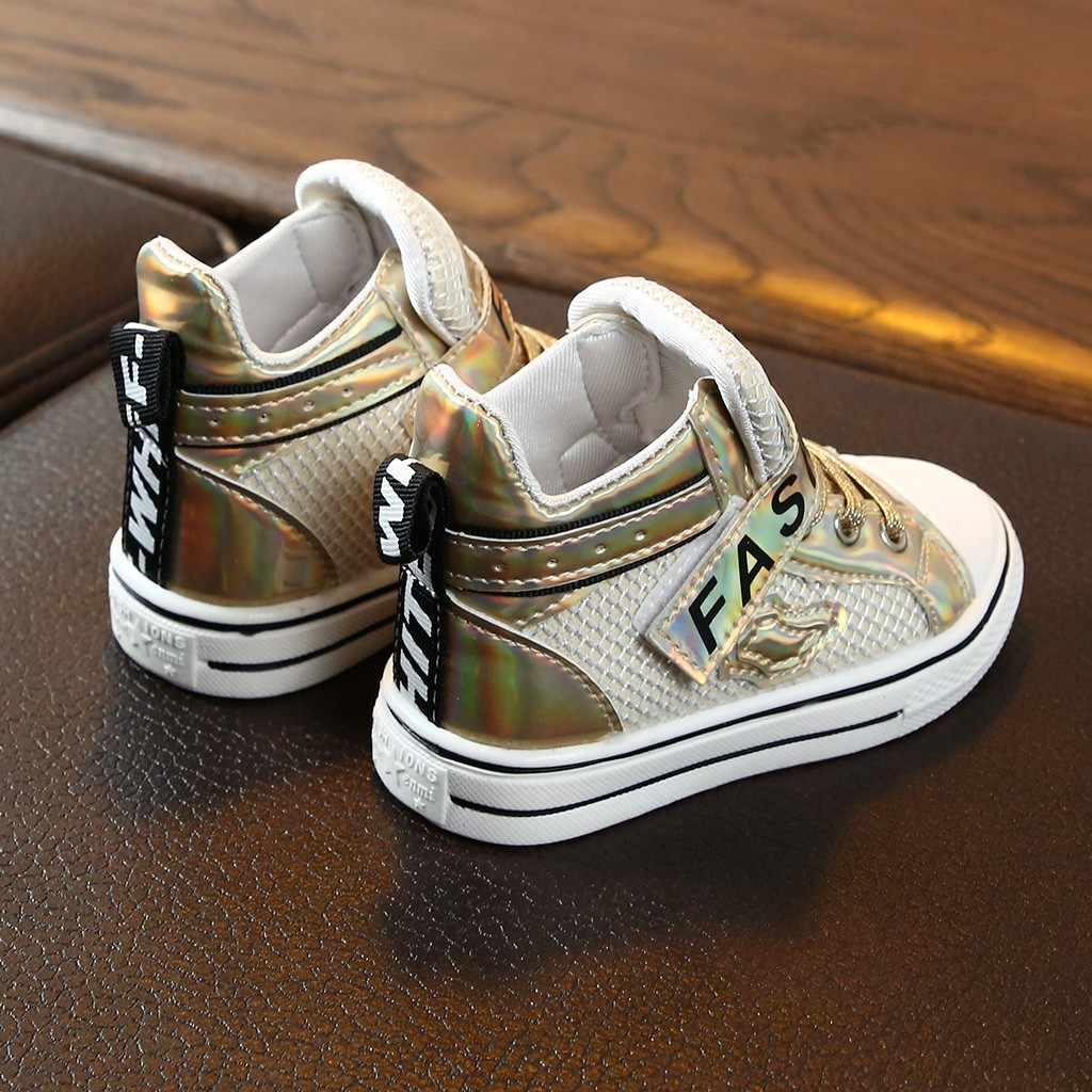 Botas de invierno para niños a la moda 2019 niños bebés niñas Bling carta malla botas Zapatos Zapatillas de deporte casuales bottines enfant fille