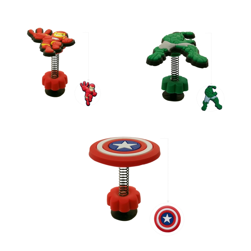 1PC The Avengers PVC Shoe Charms Decoration For Shoes Buckles Lovely Croc JIBZ Party Gift Shoe Accessories With Spring Buckle