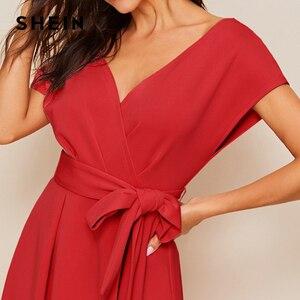 Image 5 - فستان صيفي أنيق للنساء من SHEIN بسوستة من الخلف مع فتحة رقبة واسعة وياقة على شكل V بخصر مرتفع