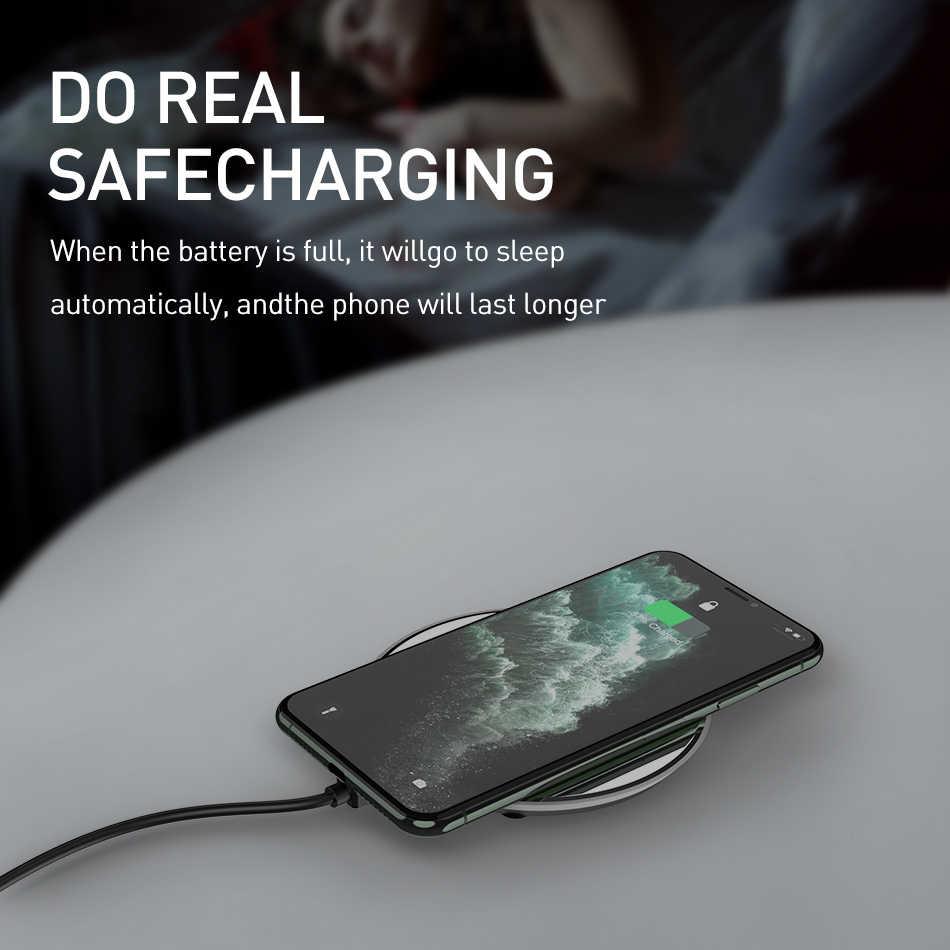 Rock 15W Nirkabel Cepat Charger UNTUK Samsung S8 S9 Catatan 9 Terlihat USB QI Pengisian Cepat Pengisian Pad untuk iPhone X XS 11 Pro 8 PLUS