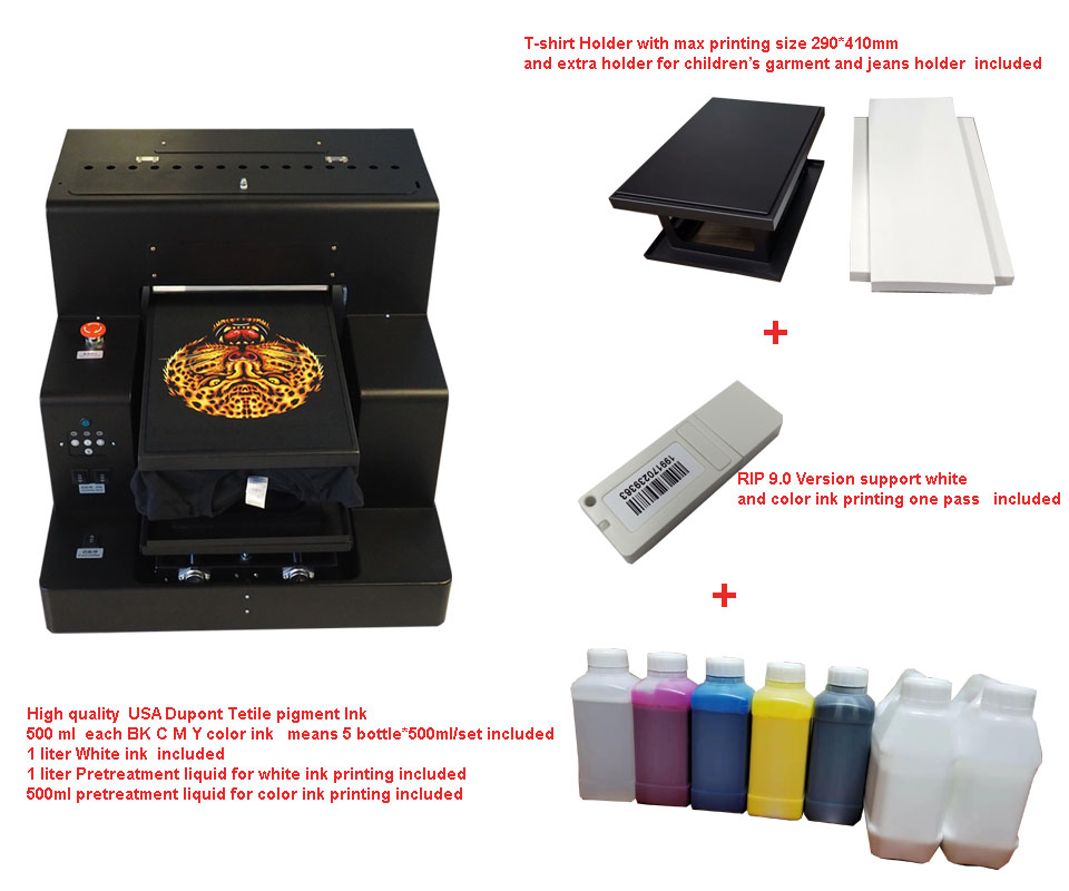 A3 Size Automatic DTG Garment Printer For  T-SHIRT Jeans Sweater Etc Printing Machine