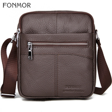 Fonmor Men Cowhide Messenger Bag Male Small Genuine Leather Cross Body Shoulder Business Zipper Bags For Men 2019 New Arrival high quality men genuine leather shoulder bag first layer cowhide cross body designer male satchel business messenger bags new