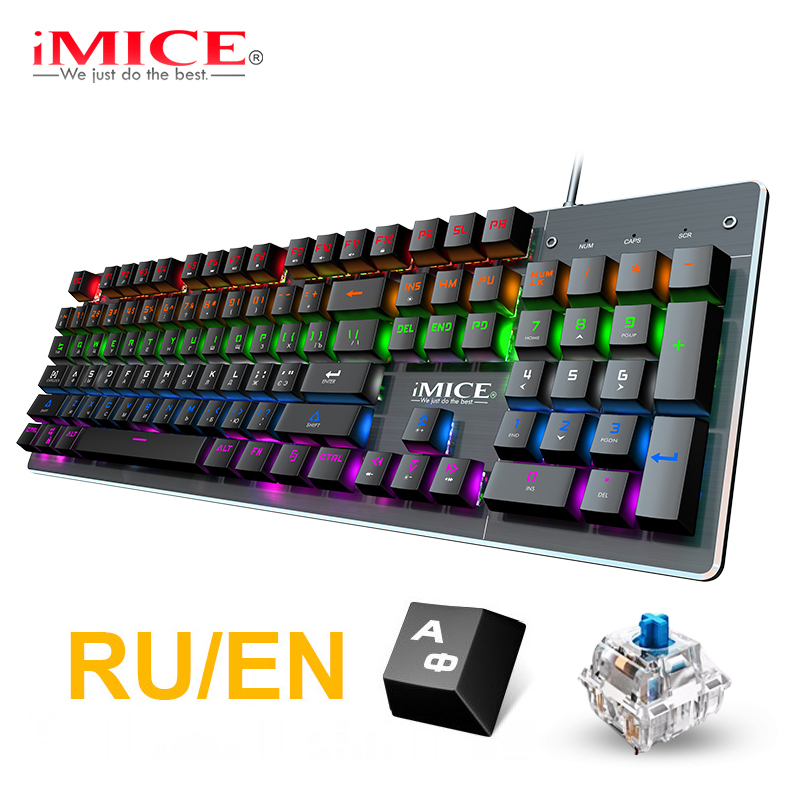 Gaming-Keyboard Computer Mechanical Backlight 87/104-Keycaps Wired USB No Russian