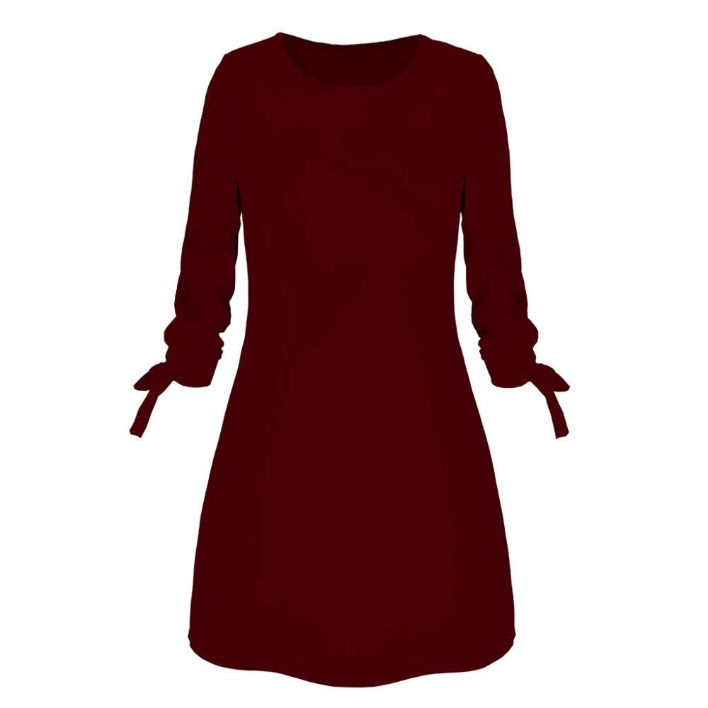 Women Fashion O neck Solid Bow Elegant Straigth Dress Spring Loose Mini Dresses Sleeve