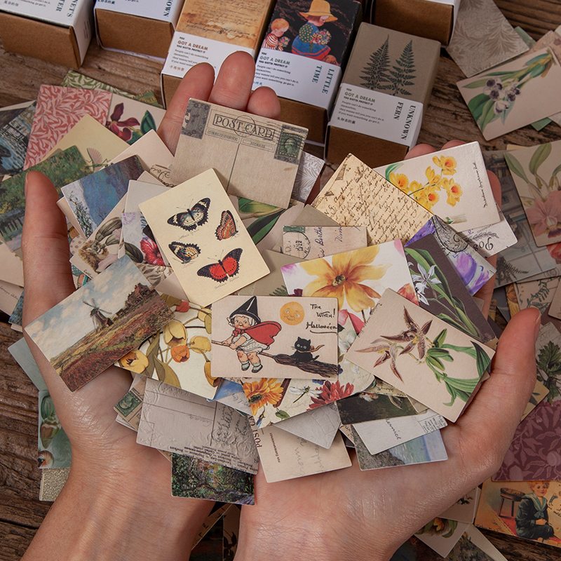 100 шт растительная бабочка винтажная коллекция книг крафт-бумага мини-открытка рукоделие декоративный материал Ретро LOMO Card