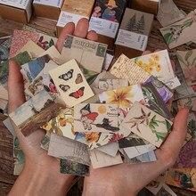 100 pces planta borboleta vintage livro coleção papel kraft mini cartão postal diy decoração material retro lomo cartão