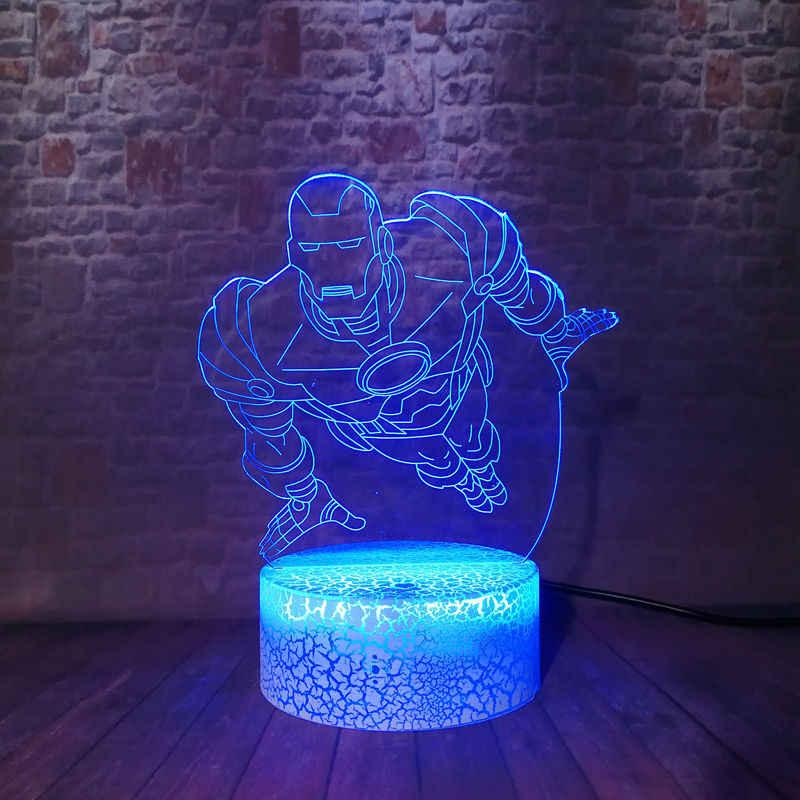 Marvel Ironman Figma Modelo 3D Ilusão LED Nightlight Luz Colorida Mudança Flutuante Avengers Iron man Figura Brinquedos