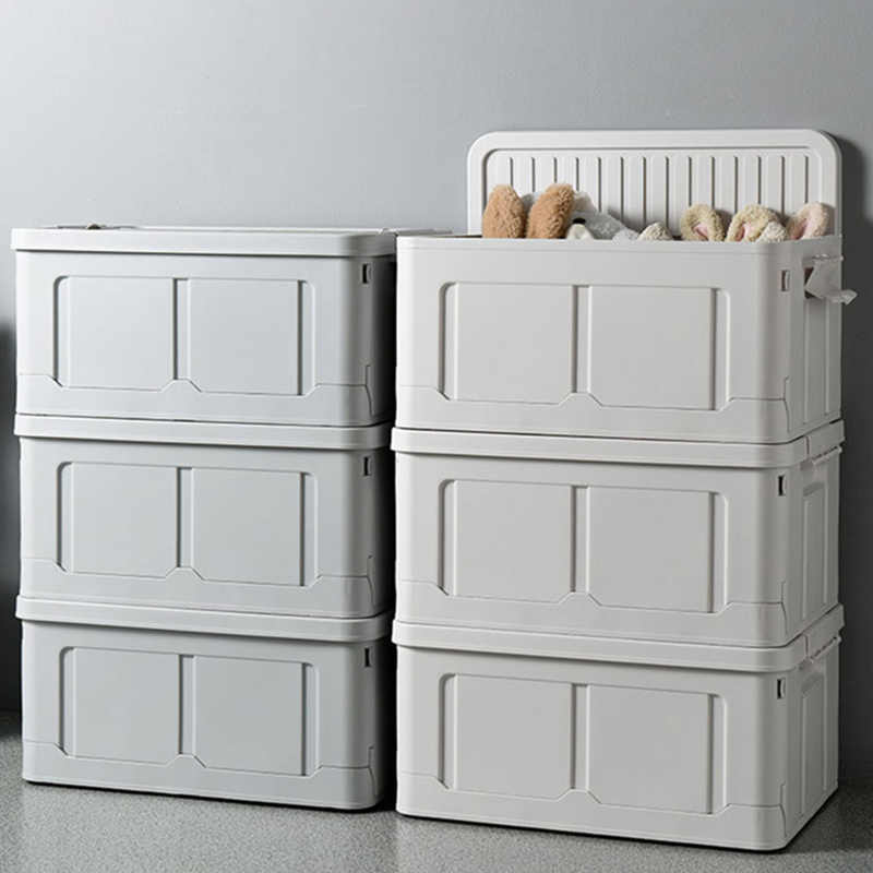 صندوق تخزين سعة كبيرة قابلة للطي البلاستيك التخزين المنظم للملابس لعبة الغذاء أشتات تكويم صناديق للتخزين رمادي صناديق وعلب تخزين Aliexpress