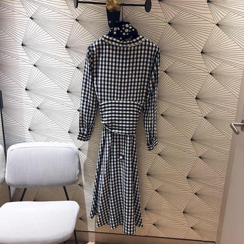 Spódnica damska 2019 Slim-fit plaid wiosenna i letnia osłona przeciwsłoneczna dekolt w szpic lady sukienka w stylu etnicznym