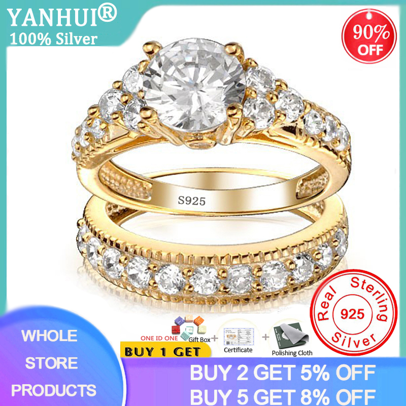 With Certificate 100% Original 925 Solid Silver Rings Set For Women 2.0ct Natural Zirconia Pure Gold Wedding Rings Set for Bride