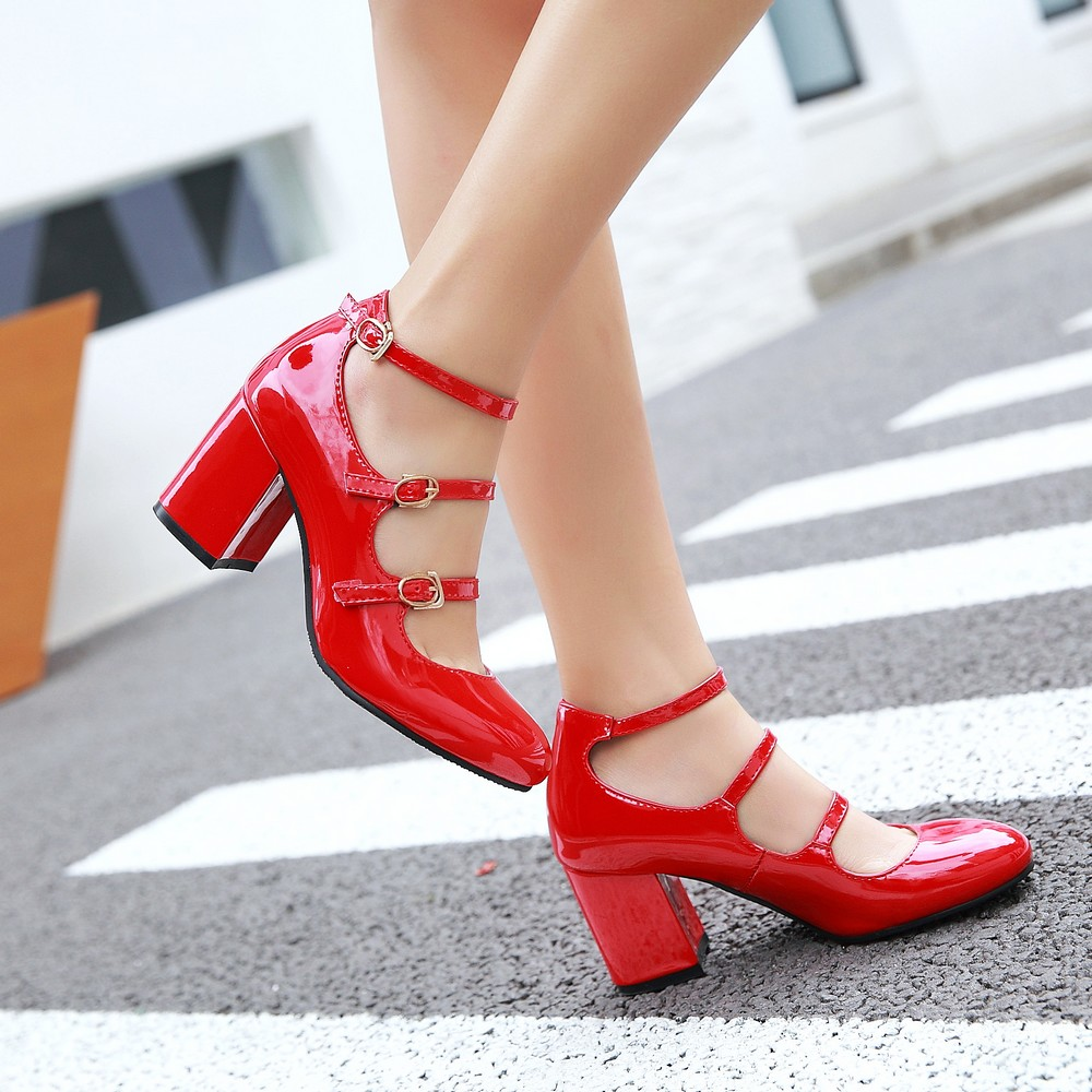 Big Size Spring Women Pumps Thick Block High Heel Patent Leather Round Toe Autumn Office Dress Party Bridal Red Lady Shoes 34-43