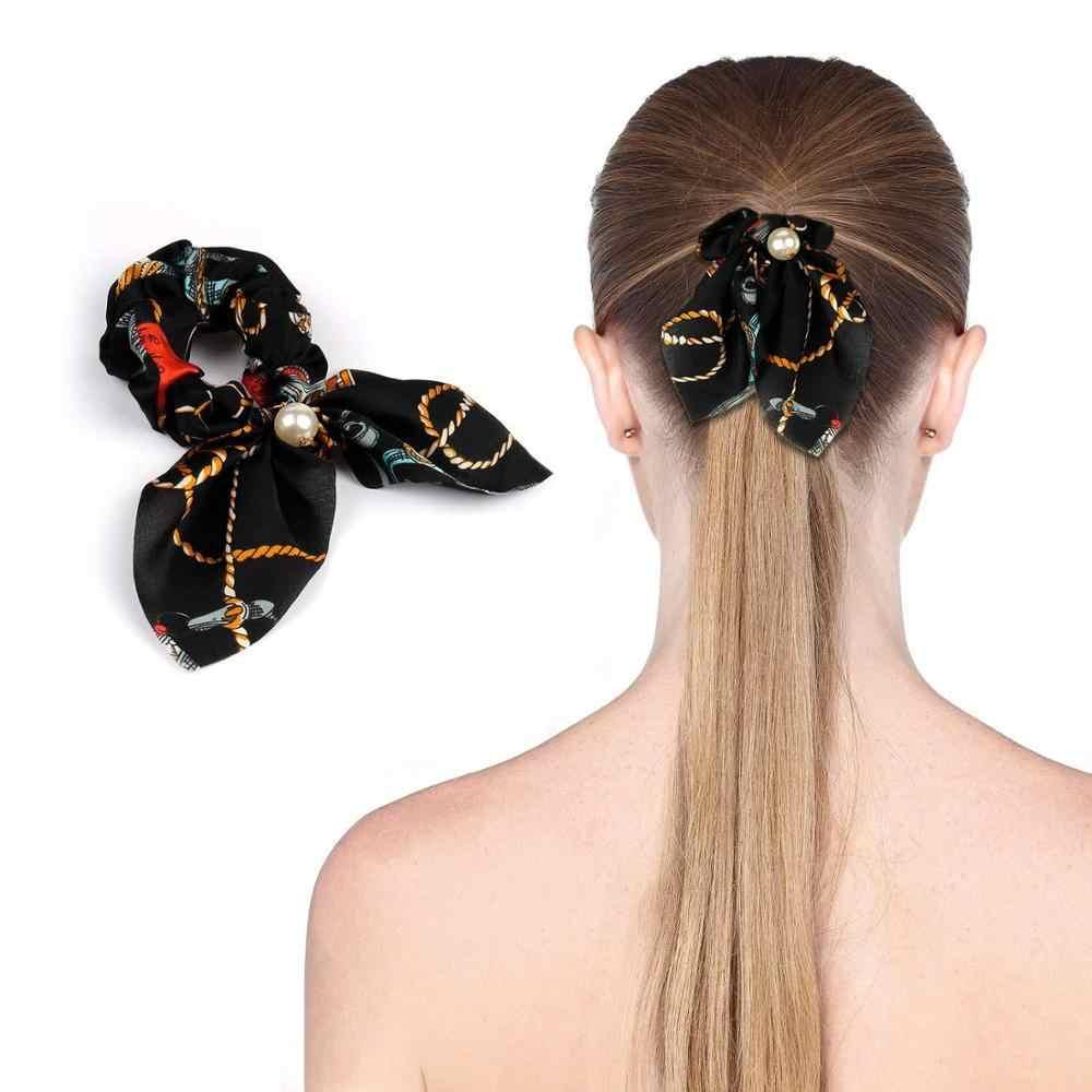 2019 nowa szyfonowa, z kokardką jedwabne włosy Scrunchies kobiety Pearl kucyk Holder opaska do włosów gumka do włosów opaski gumowe akcesoria do włosów