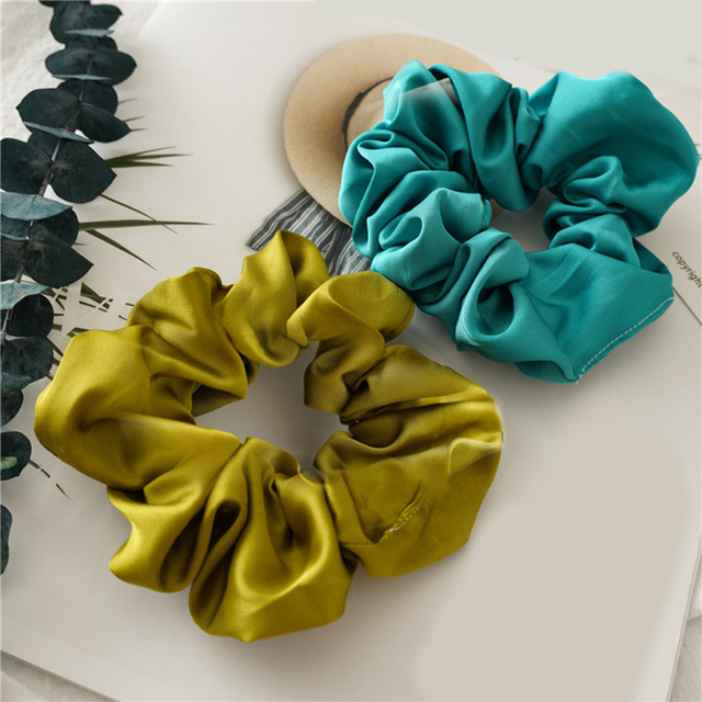 bright color hair scrunchies New arrival women lovely satin Hair bands  girls hair Tie Accessories Ponytail Holder Hairband Hot
