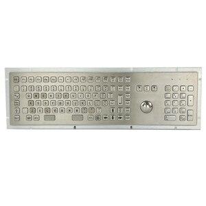 Промышленная металлическая клавиатура из нержавеющей стали, полноразмерная 107 клавиш с трекболом, мышкой FN и цифровой клавиатурой