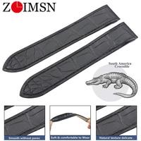 ZLIMSN Genuine Crocodile Leather Watch Band for Cartier Bracelet 23mm Santos With rubber Custom made Alligator watch Strap
