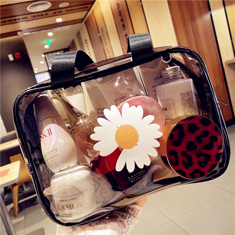Make Up Daisy Bag Transparent Cosmetic PVC Women Zipper Clear Makeup Bags Case Make Up Organizer Storage Bath Toiletry Wash Bag