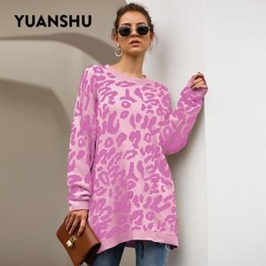 Image 5 - YUANSHU 2020 カジュアルなビッグサイズプルオーバーニットヒョウ柄の女性のセータートップ O ネック春秋のルース女性ジャンパー