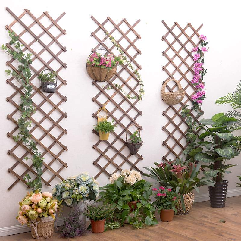 Carbonized Anticorrosive Wood Pull Net Garden Wall Fence Panel Plant Climb Trellis Support Decorative Garden Fence for Home Yard