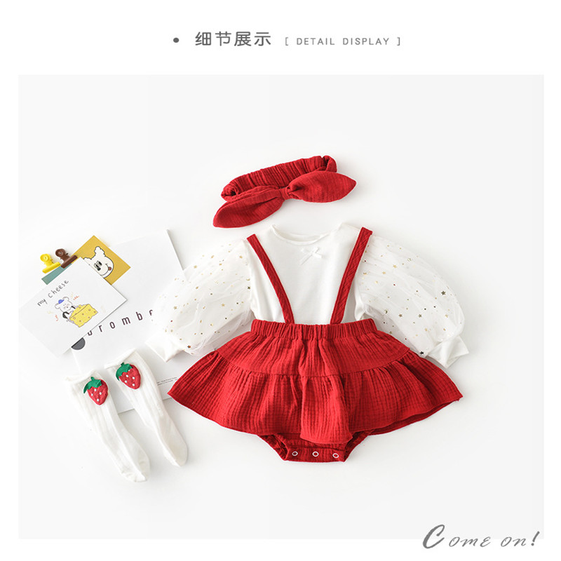 Newborn Baby Girls Romper Spring Baby Dress + Headband 2pcs Jumpsuit Infant Clothes For Girls Cotton Toddler Jumpsuit Dresses