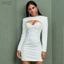 Adyce Neue Herbst Frauen Weiß Bodycon Berühmtheit Abend Party Kleid Vestidos Sexy Langarm Liebsten Mini Runway Club Kleid